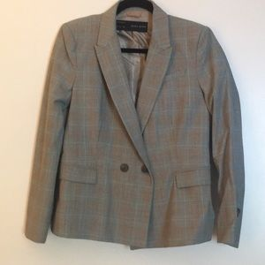Zara gray and light blue checked jacket large